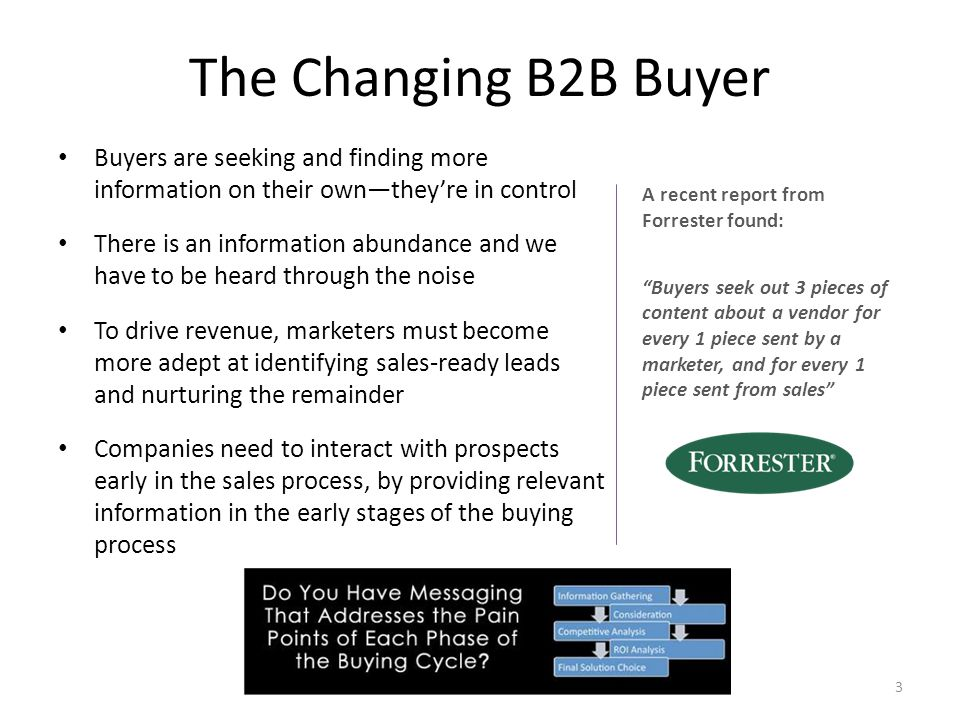 The Changing B2B Buyer Buyers are seeking and finding more information on their own—they're in control There is an information abundance and we have to be heard through the noise To drive revenue, marketers must become more adept at identifying sales-ready leads and nurturing the remainder Companies need to interact with prospects early in the sales process, by providing relevant information in the early stages of the buying process A recent report from Forrester found: Buyers seek out 3 pieces of content about a vendor for every 1 piece sent by a marketer, and for every 1 piece sent from sales 3