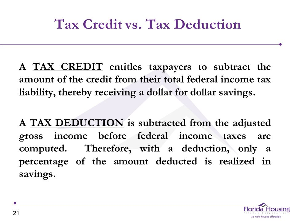 Tax Credit vs.