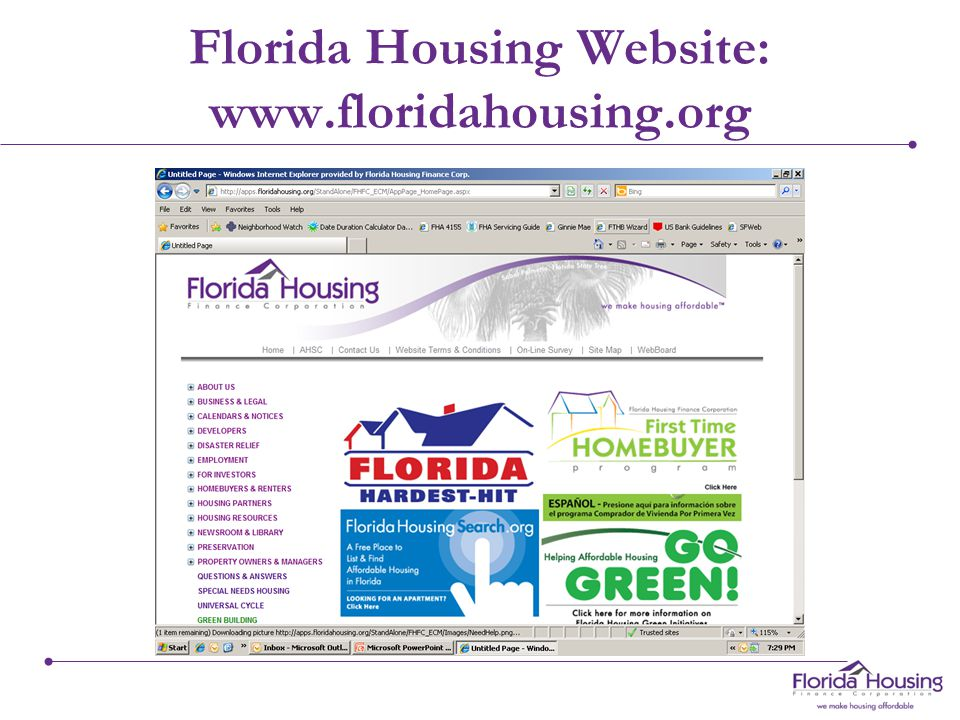 Florida Housing Website: