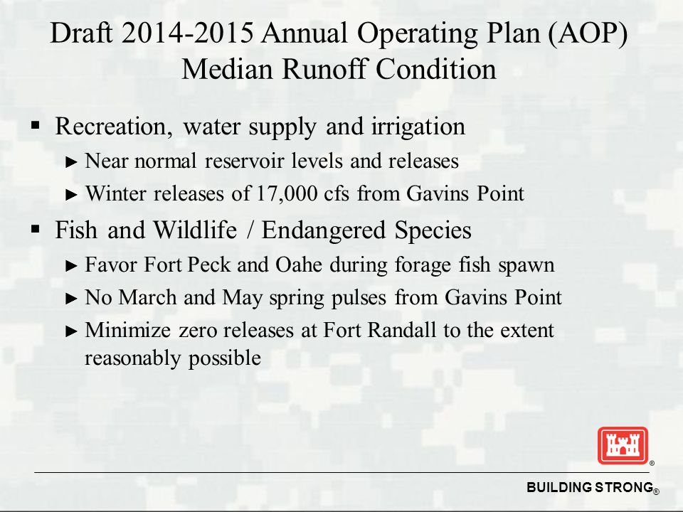 BUILDING STRONG ® Draft Annual Operating Plan (AOP) Median Runoff Condition  Recreation, water supply and irrigation ► Near normal reservoir levels and releases ► Winter releases of 17,000 cfs from Gavins Point  Fish and Wildlife / Endangered Species ► Favor Fort Peck and Oahe during forage fish spawn ► No March and May spring pulses from Gavins Point ► Minimize zero releases at Fort Randall to the extent reasonably possible