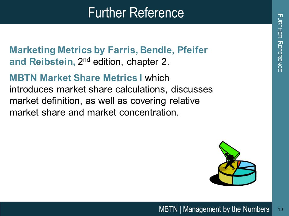 F URTHER R EFERENCE 13 Further Reference MBTN | Management by the Numbers Marketing Metrics by Farris, Bendle, Pfeifer and Reibstein, 2 nd edition, chapter 2.