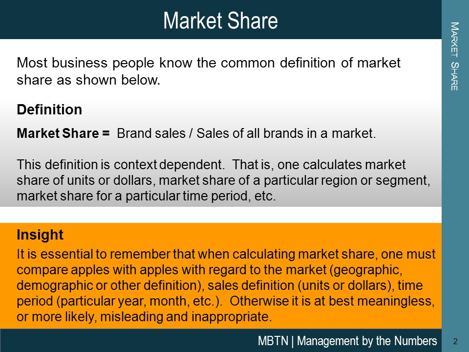 Market Share Most business people know the common definition of market share as shown below.