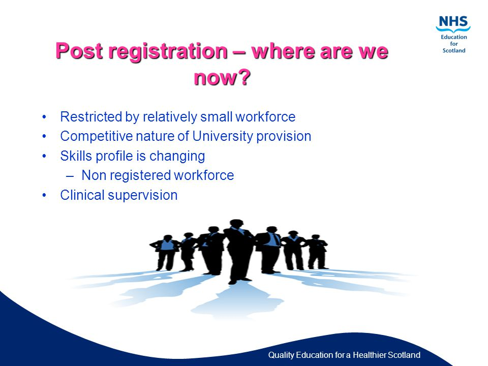 Quality Education for a Healthier Scotland Post registration – where are we now.