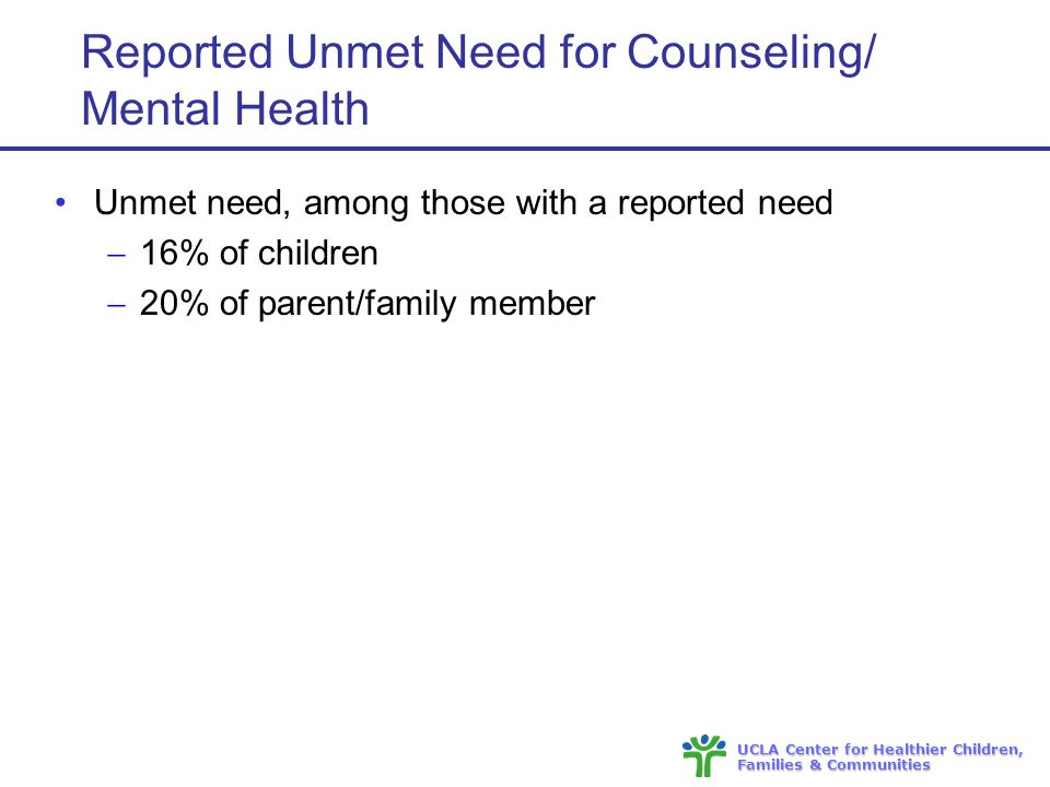 UCLA Center for Healthier Children, Families & Communities Reported Unmet Need for Counseling/ Mental Health Unmet need, among those with a reported need  16% of children  20% of parent/family member