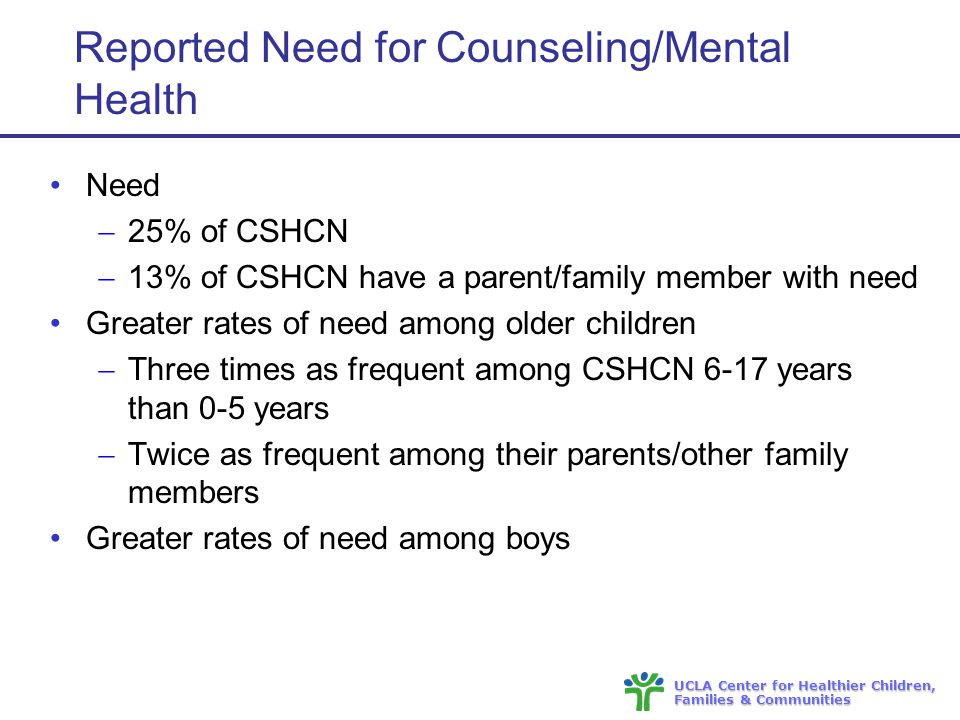 UCLA Center for Healthier Children, Families & Communities Reported Need for Counseling/Mental Health Need  25% of CSHCN  13% of CSHCN have a parent/family member with need Greater rates of need among older children  Three times as frequent among CSHCN 6-17 years than 0-5 years  Twice as frequent among their parents/other family members Greater rates of need among boys