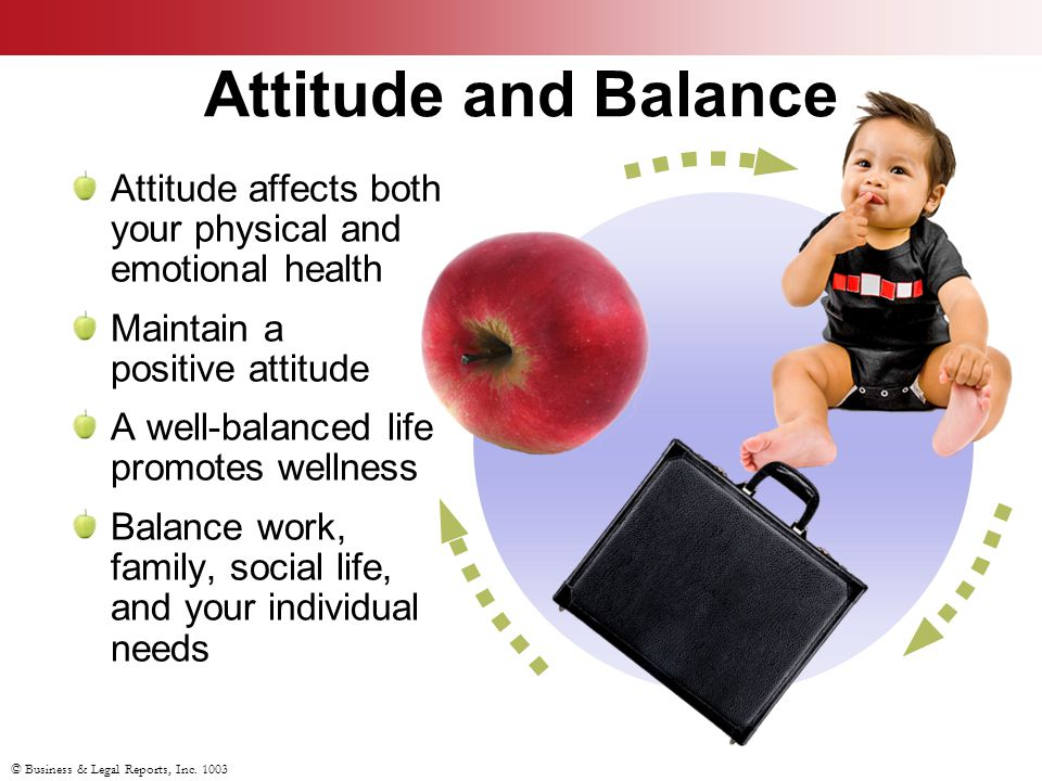 Attitude and Balance Attitude affects both your physical and emotional health Maintain a positive attitude A well-balanced life promotes wellness Balance work, family, social life, and your individual needs © Business & Legal Reports, Inc.