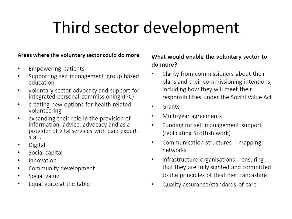 Third sector development Areas where the voluntary sector could do more Empowering patients Supporting self-management group-based education voluntary sector advocacy and support for integrated personal commissioning (IPC) creating new options for health-related volunteering expanding their role in the provision of information, advice, advocacy and as a provider of vital services with paid expert staff..