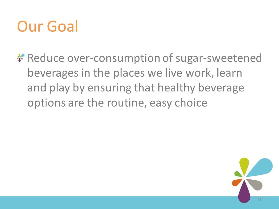 Our Goal Reduce over-consumption of sugar-sweetened beverages in the places we live work, learn and play by ensuring that healthy beverage options are the routine, easy choice 10