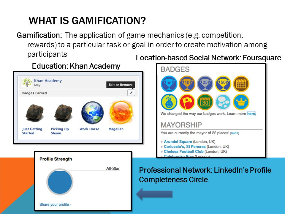 WHAT IS GAMIFICATION. Gamification: The application of game mechanics (e.g.