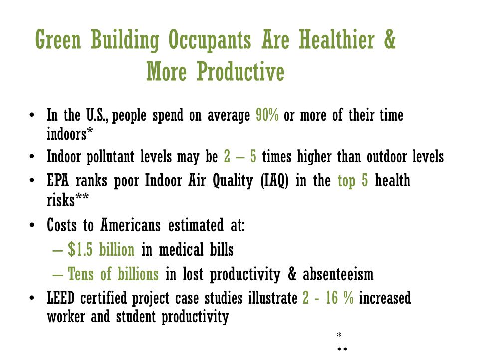 Green Building Occupants Are Healthier & More Productive In the U.S., people spend on average 90% or more of their time indoors* Indoor pollutant levels may be 2 – 5 times higher than outdoor levels EPA ranks poor Indoor Air Quality (IAQ) in the top 5 health risks** Costs to Americans estimated at: – $1.5 billion in medical bills – Tens of billions in lost productivity & absenteeism LEED certified project case studies illustrate % increased worker and student productivity * **