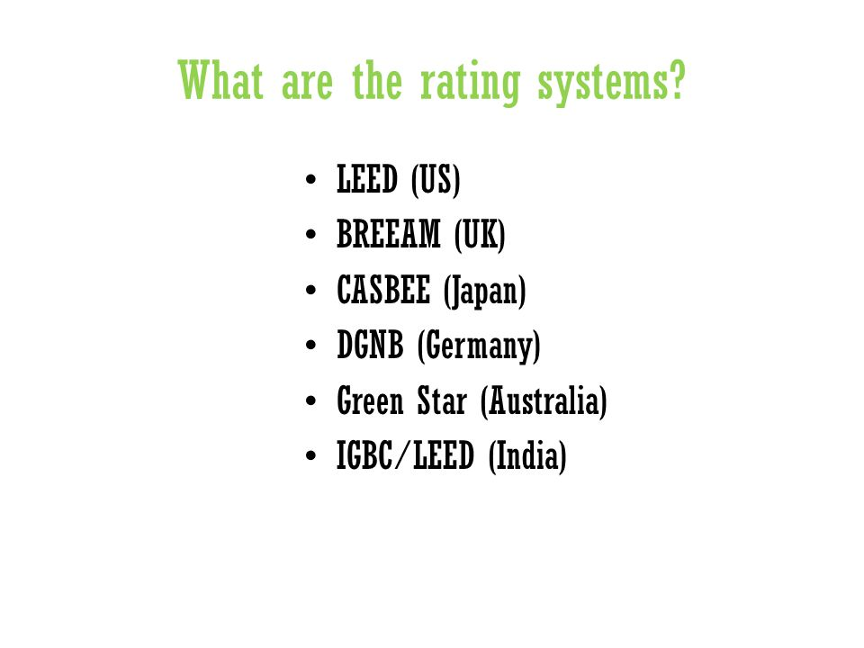 What are the rating systems.