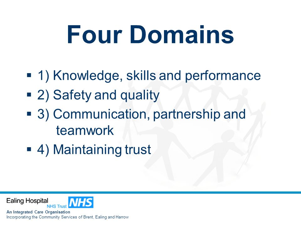 An Integrated Care Organisation Incorporating the Community Services of Brent, Ealing and Harrow Four Domains  1) Knowledge, skills and performance  2) Safety and quality  3) Communication, partnership and teamwork  4) Maintaining trust