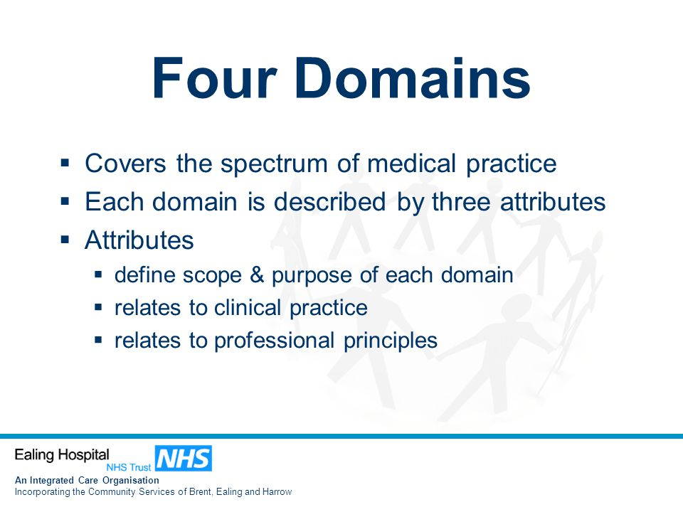 An Integrated Care Organisation Incorporating the Community Services of Brent, Ealing and Harrow Four Domains  Covers the spectrum of medical practice  Each domain is described by three attributes  Attributes  define scope & purpose of each domain  relates to clinical practice  relates to professional principles