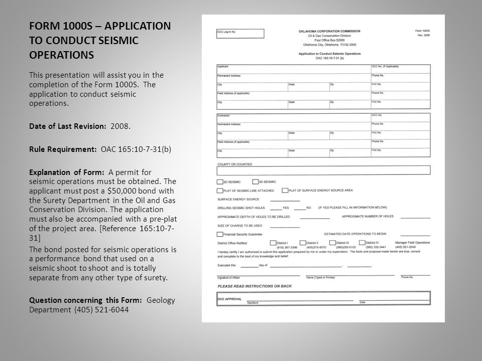 Form 1000s Application To Conduct Seismic Operations This