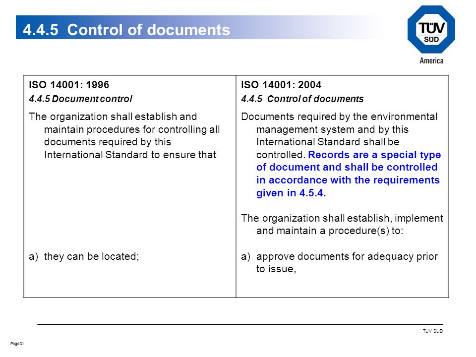 31Page TÜV SÜD Control of documents ISO 14001: Document control The organization shall establish and maintain procedures for controlling all documents required by this International Standard to ensure that a)they can be located; ISO 14001: Control of documents Documents required by the environmental management system and by this International Standard shall be controlled.