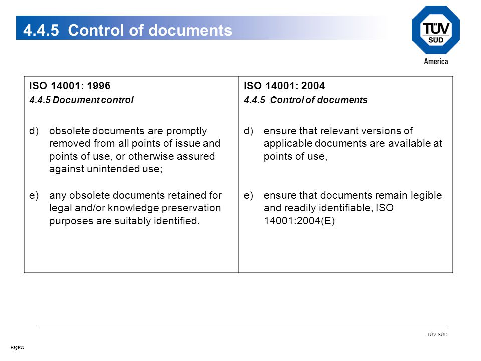 33Page TÜV SÜD Control of documents ISO 14001: Document control d)obsolete documents are promptly removed from all points of issue and points of use, or otherwise assured against unintended use; e)any obsolete documents retained for legal and/or knowledge preservation purposes are suitably identified.
