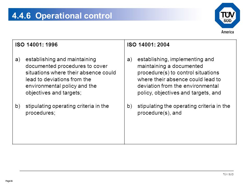 36Page TÜV SÜD Operational control ISO 14001: 1996 a)establishing and maintaining documented procedures to cover situations where their absence could lead to deviations from the environmental policy and the objectives and targets; b)stipulating operating criteria in the procedures; ISO 14001: 2004 a)establishing, implementing and maintaining a documented procedure(s) to control situations where their absence could lead to deviation from the environmental policy, objectives and targets, and b)stipulating the operating criteria in the procedure(s), and