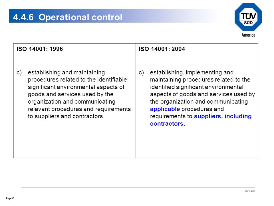 37Page TÜV SÜD Operational control ISO 14001: 1996 c)establishing and maintaining procedures related to the identifiable significant environmental aspects of goods and services used by the organization and communicating relevant procedures and requirements to suppliers and contractors.