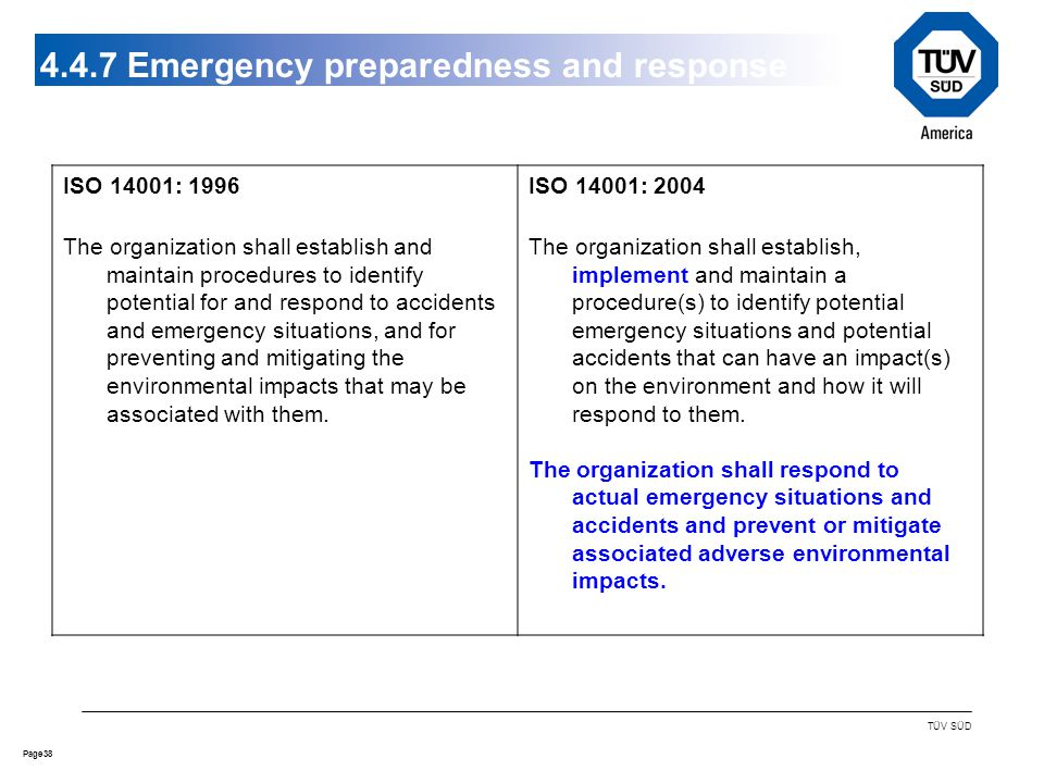 38Page TÜV SÜD Emergency preparedness and response ISO 14001: 1996 The organization shall establish and maintain procedures to identify potential for and respond to accidents and emergency situations, and for preventing and mitigating the environmental impacts that may be associated with them.
