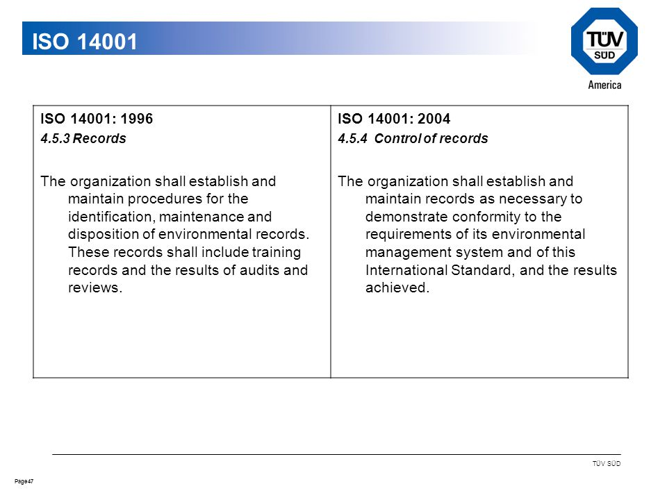 47Page TÜV SÜD ISO ISO 14001: Records The organization shall establish and maintain procedures for the identification, maintenance and disposition of environmental records.