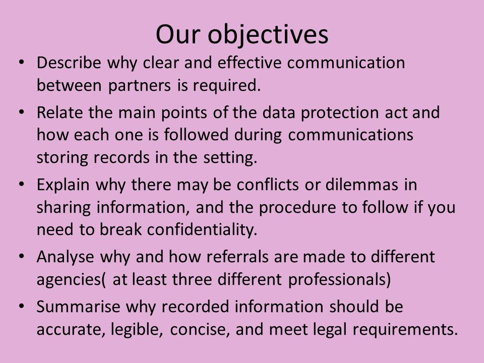 identify policies and procedures in the work setting for information sharing