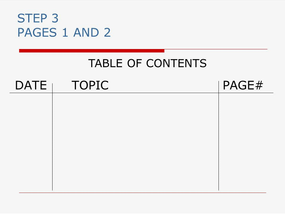 STEP 3 PAGES 1 AND 2 DATETOPIC PAGE# TABLE OF CONTENTS