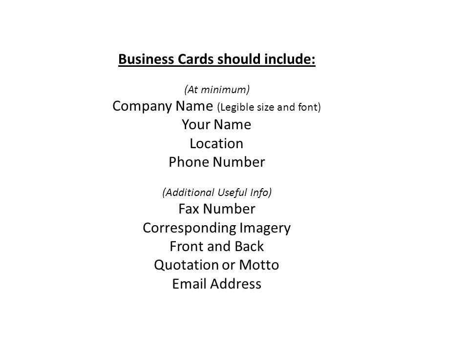 Purpose of graphic design introduction presenting information 2 business cards should include at minimum company name legible size and font your name location phone number additional useful info fax number reheart Image collections