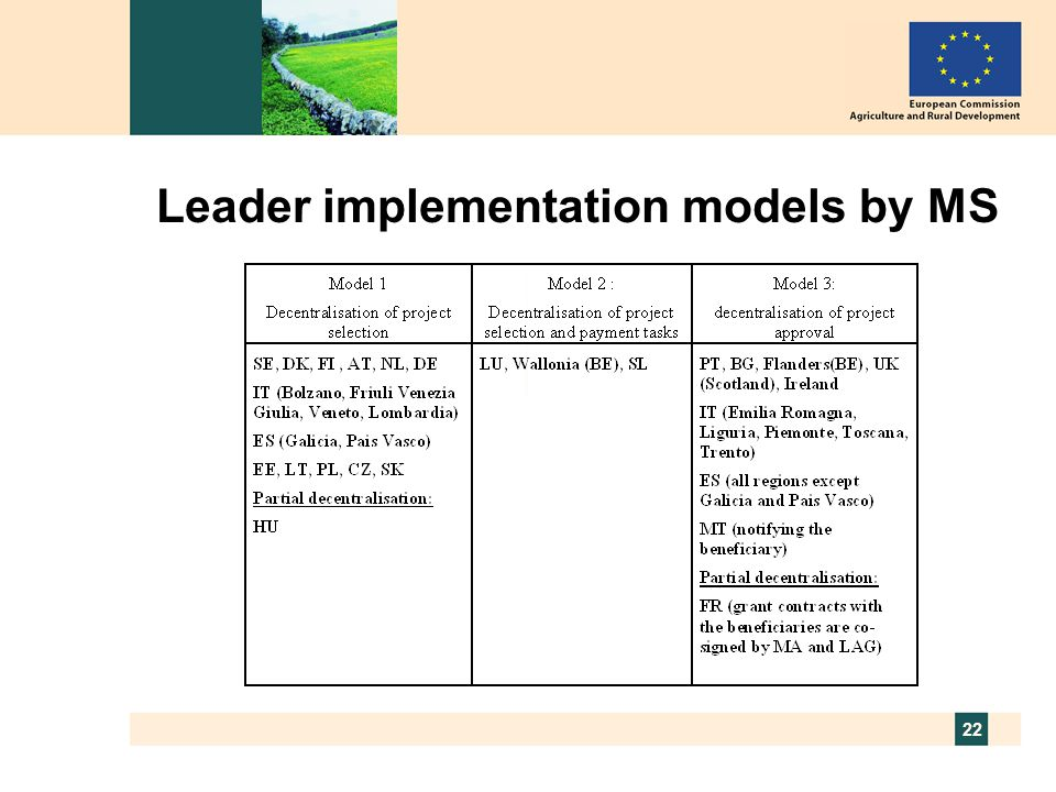 22 Leader implementation models by MS