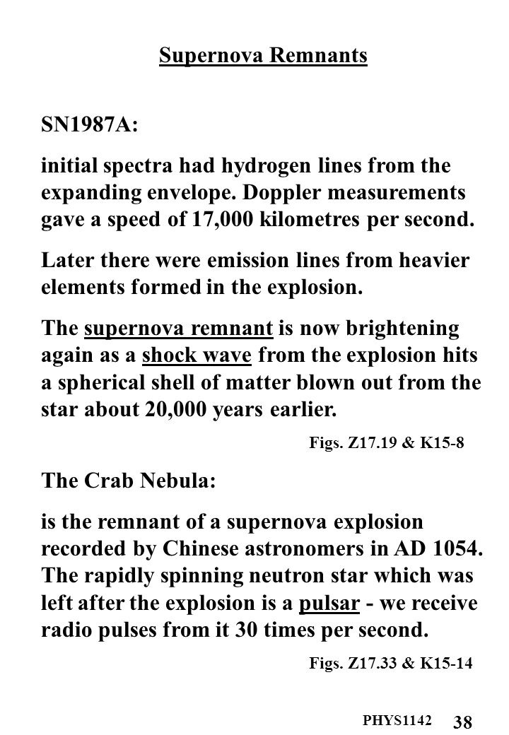 PHYS Supernova Remnants SN1987A: initial spectra had hydrogen lines from the expanding envelope.