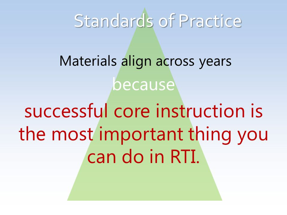 Standards of Practice Materials align across years because successful core instruction is the most important thing you can do in RTI.