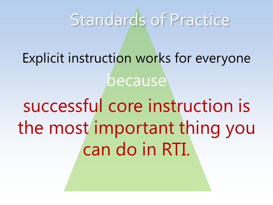 Standards of Practice Explicit instruction works for everyone because successful core instruction is the most important thing you can do in RTI.