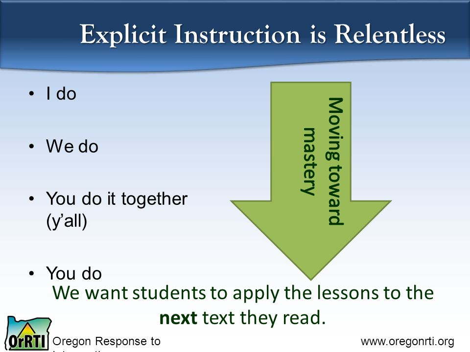 Oregon Response to Intervention   Explicit Instruction is Relentless We want students to apply the lessons to the next text they read.