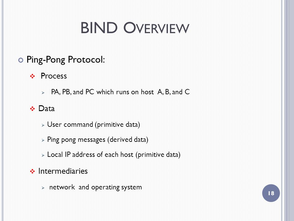 BIND O VERVIEW Ping-Pong Protocol:  Process  PA, PB, and PC which runs on host A, B, and C  Data  User command (primitive data)  Ping pong messages (derived data)  Local IP address of each host (primitive data)  Intermediaries  network and operating system 18