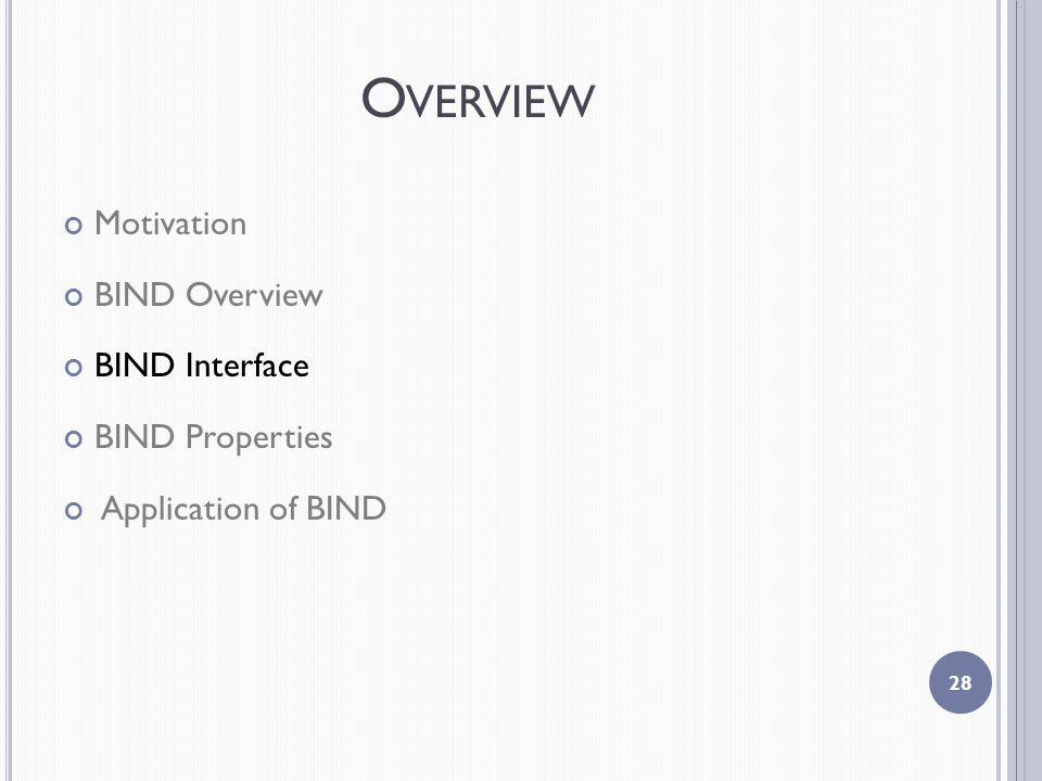 O VERVIEW Motivation BIND Overview BIND Interface BIND Properties Application of BIND 28