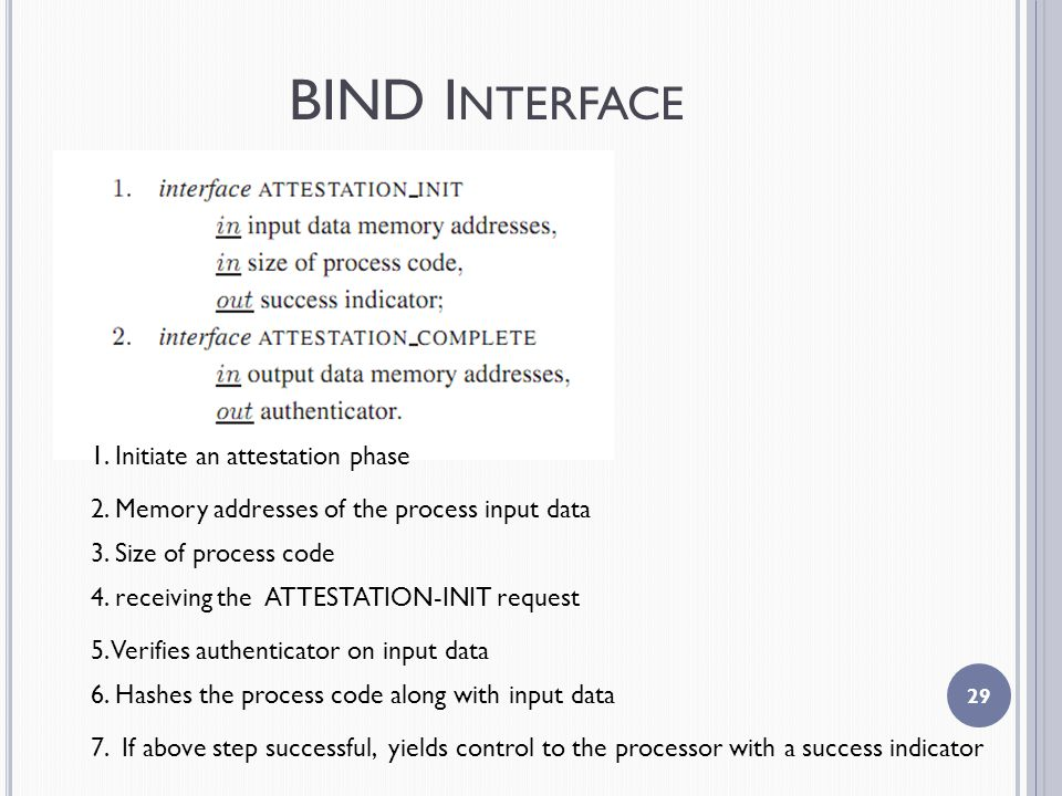 BIND I NTERFACE Initiate an attestation phase 2.