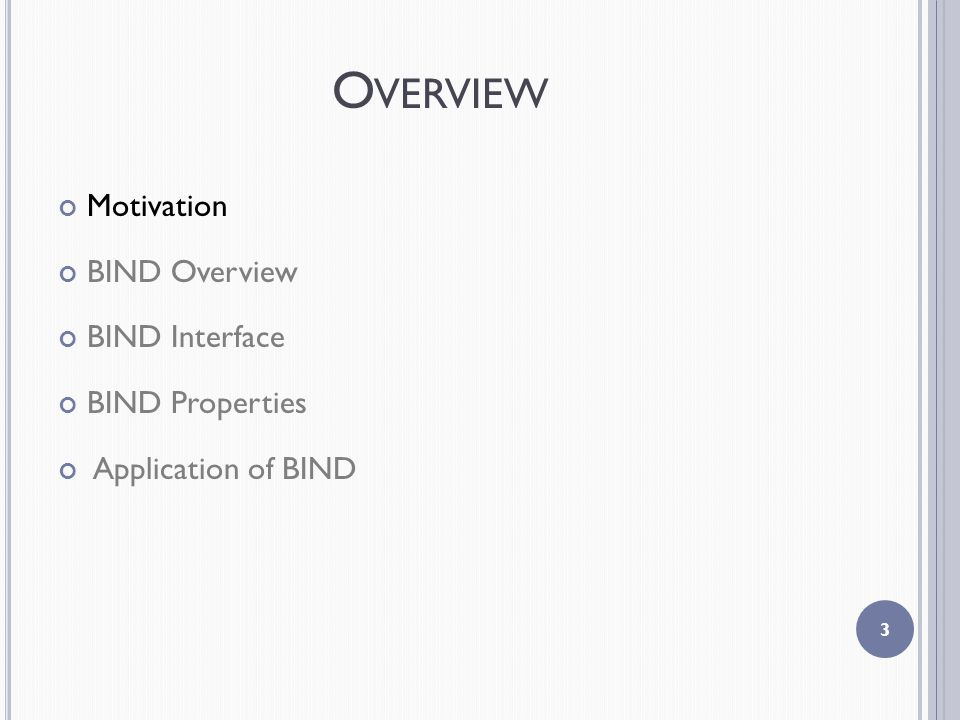 O VERVIEW Motivation BIND Overview BIND Interface BIND Properties Application of BIND 3