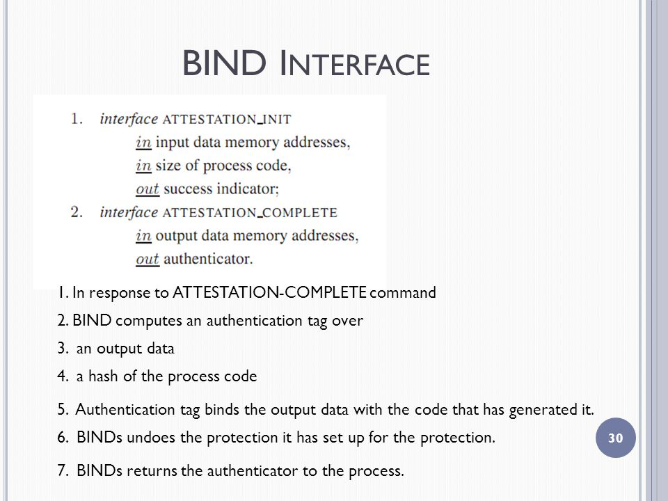 BIND I NTERFACE In response to ATTESTATION-COMPLETE command 2.