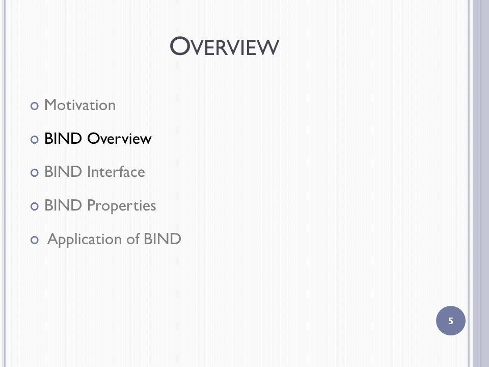 O VERVIEW Motivation BIND Overview BIND Interface BIND Properties Application of BIND 5