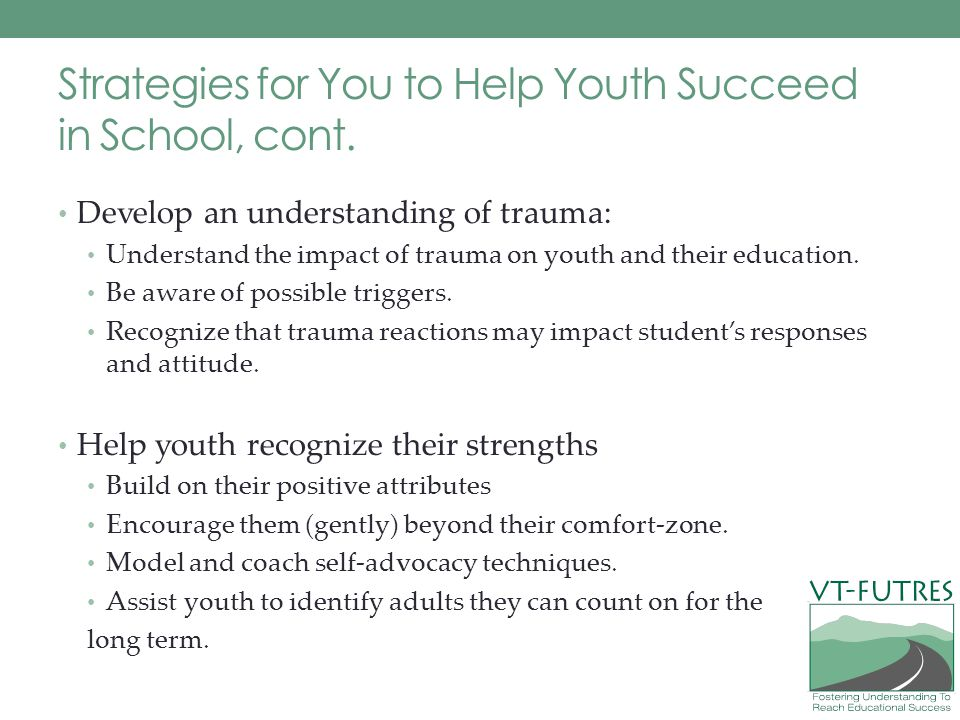 Strategies for You to Help Youth Succeed in School, cont.
