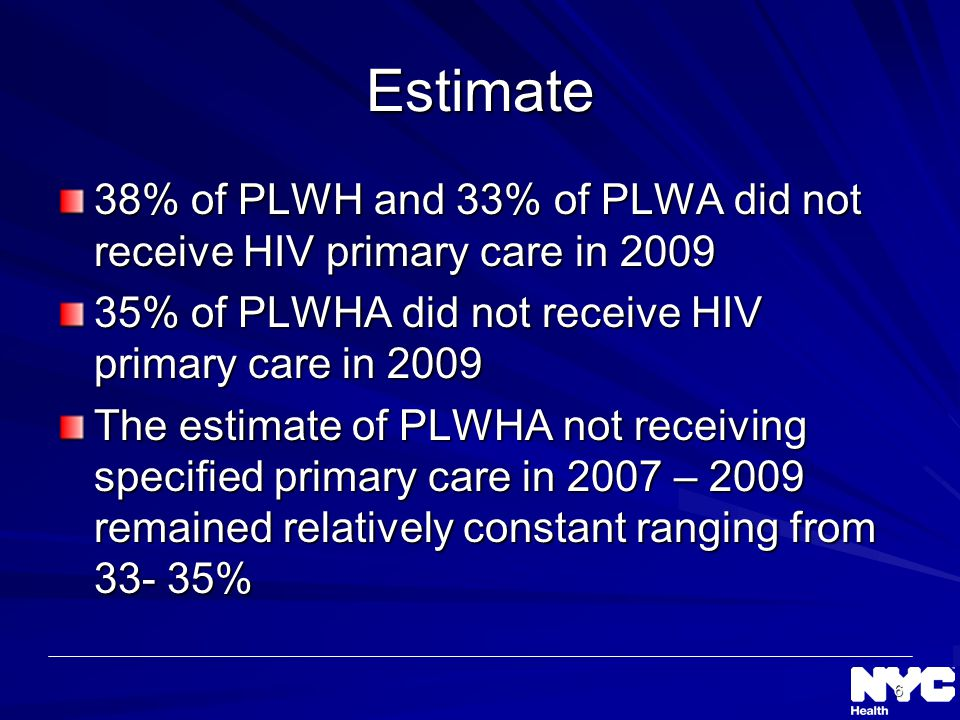 6 Estimate 38% of PLWH and 33% of PLWA did not receive HIV primary care in % of PLWHA did not receive HIV primary care in 2009 The estimate of PLWHA not receiving specified primary care in 2007 – 2009 remained relatively constant ranging from %