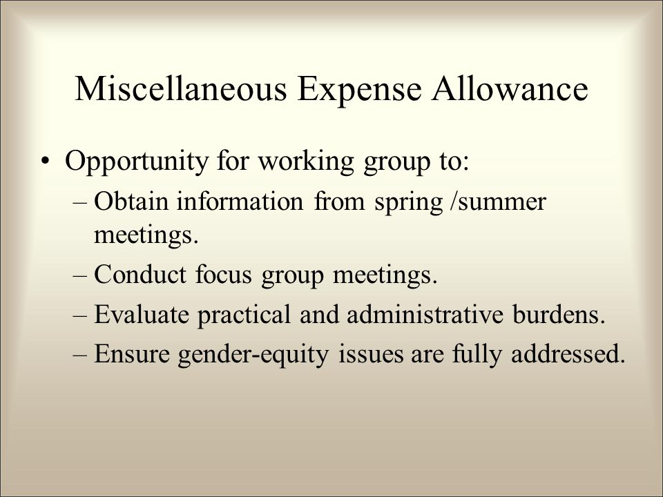 Miscellaneous Expense Allowance Opportunity for working group to: –Obtain information from spring /summer meetings.