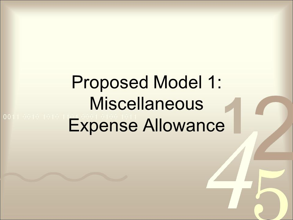 Proposed Model 1: Miscellaneous Expense Allowance