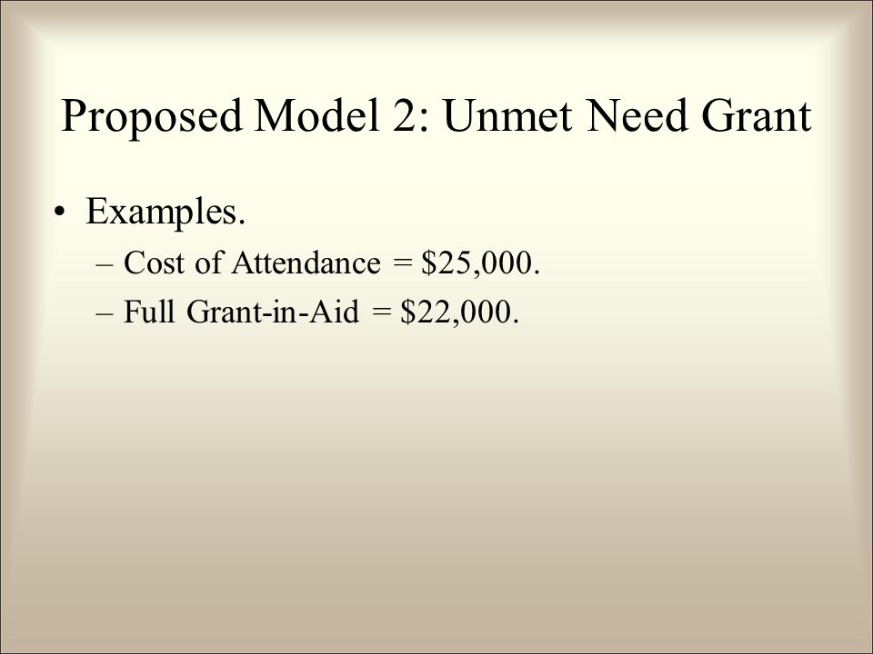 Examples. –Cost of Attendance = $25,000. –Full Grant-in-Aid = $22,000.