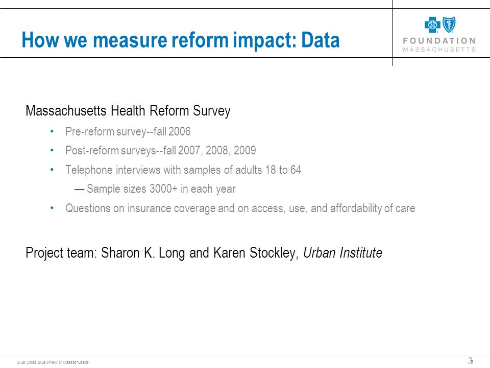 3 Blue Cross Blue Shield of Massachusetts 3 How we measure reform impact: Data Massachusetts Health Reform Survey Pre-reform survey--fall 2006 Post-reform surveys--fall 2007, 2008, 2009 Telephone interviews with samples of adults 18 to 64 —Sample sizes in each year Questions on insurance coverage and on access, use, and affordability of care Project team: Sharon K.