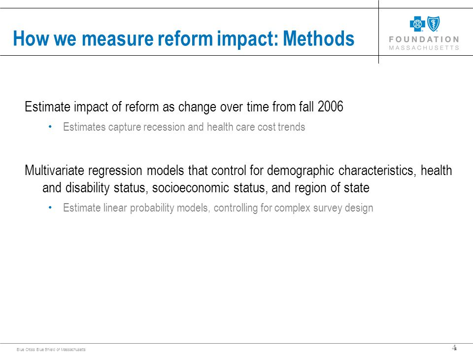 4 Blue Cross Blue Shield of Massachusetts 4 How we measure reform impact: Methods Estimate impact of reform as change over time from fall 2006 Estimates capture recession and health care cost trends Multivariate regression models that control for demographic characteristics, health and disability status, socioeconomic status, and region of state Estimate linear probability models, controlling for complex survey design