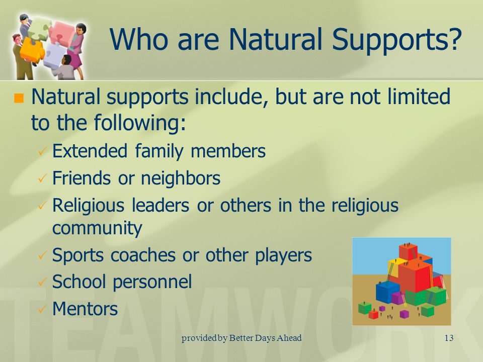 provided by Better Days Ahead12 What is a Natural Support.