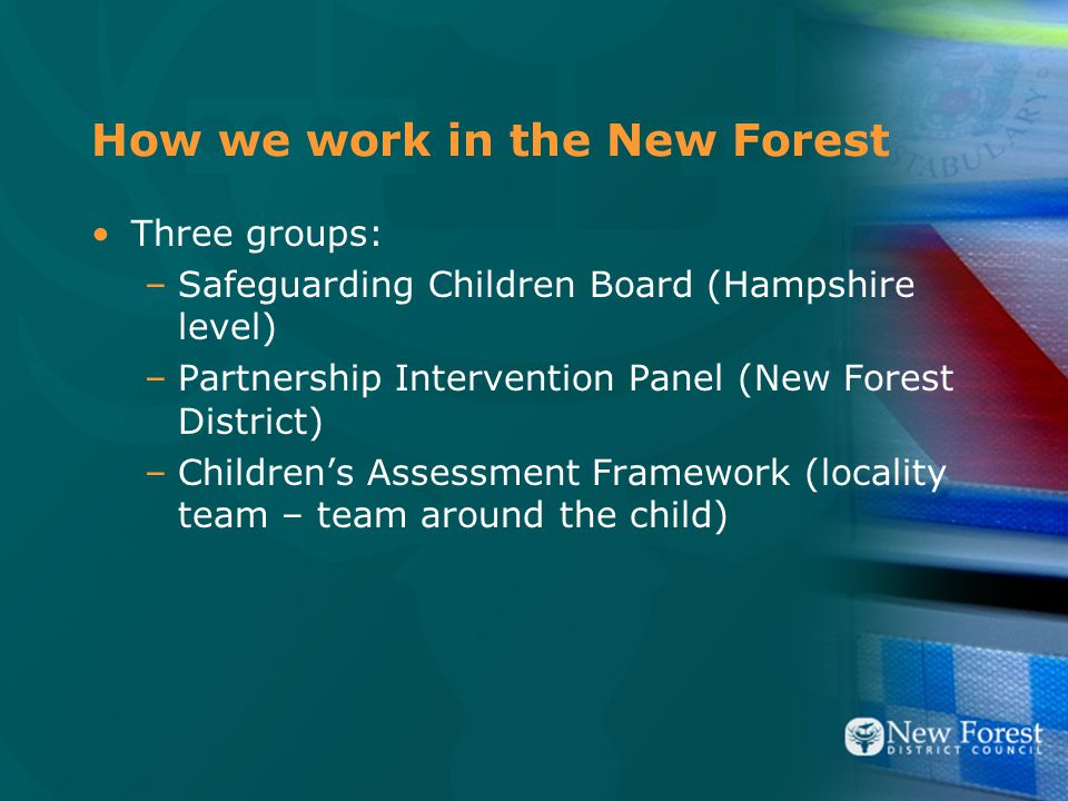 How we work in the New Forest Three groups: –Safeguarding Children Board (Hampshire level) –Partnership Intervention Panel (New Forest District) –Children's Assessment Framework (locality team – team around the child)