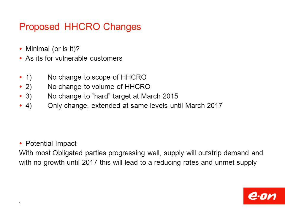 Proposed HHCRO Changes  Minimal (or is it).