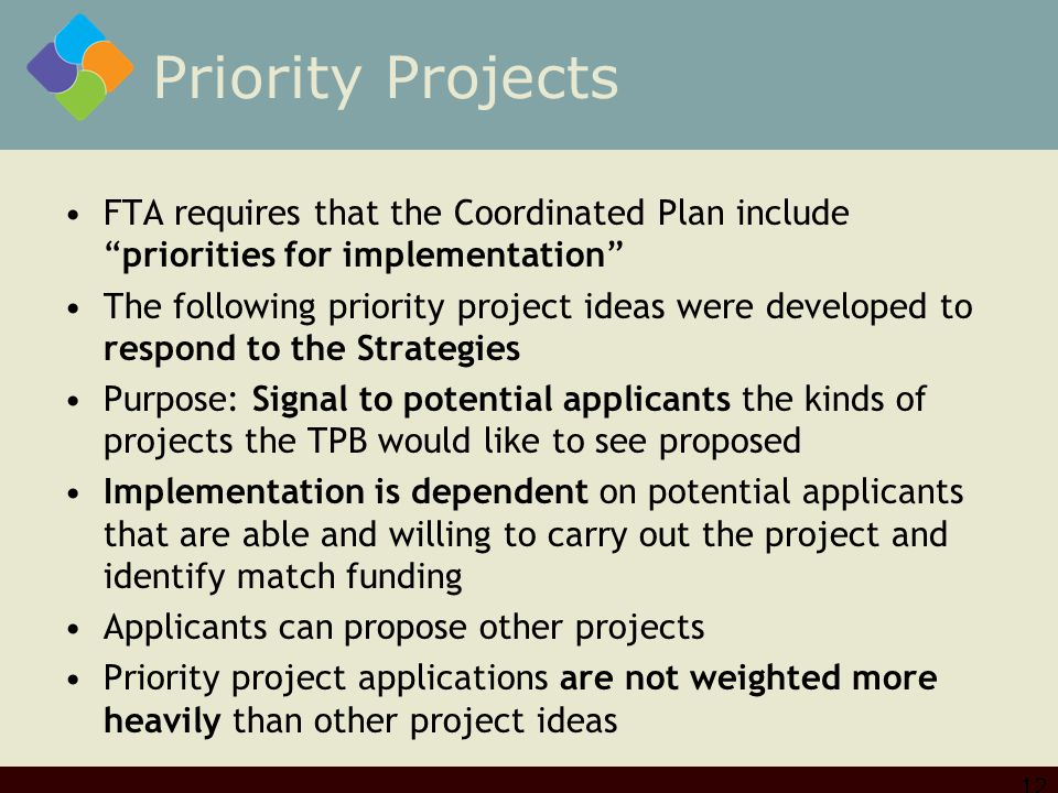 Priority Projects FTA requires that the Coordinated Plan include priorities for implementation The following priority project ideas were developed to respond to the Strategies Purpose: Signal to potential applicants the kinds of projects the TPB would like to see proposed Implementation is dependent on potential applicants that are able and willing to carry out the project and identify match funding Applicants can propose other projects Priority project applications are not weighted more heavily than other project ideas 12