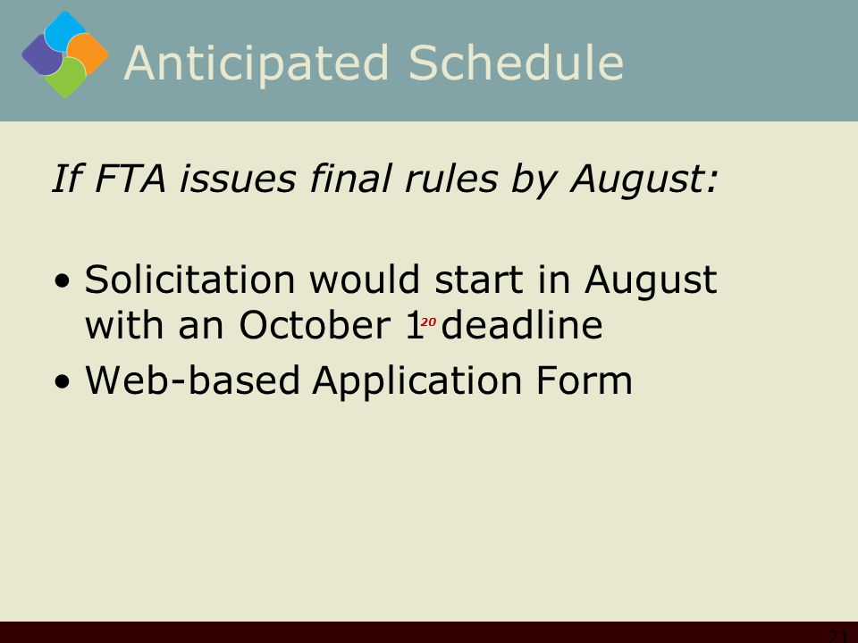 Anticipated Schedule If FTA issues final rules by August: Solicitation would start in August with an October 1 deadline Web-based Application Form 21 20
